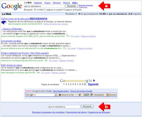 imagen de redundancia en Google