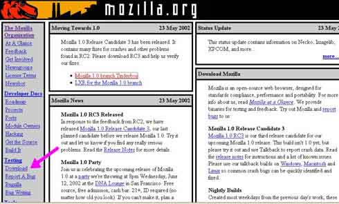 primera versin homepage de mozilla