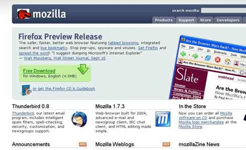 quinta versin homepage de mozilla