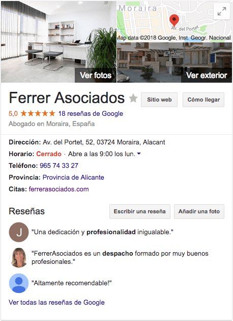 Google My Business Ferrer Asociados